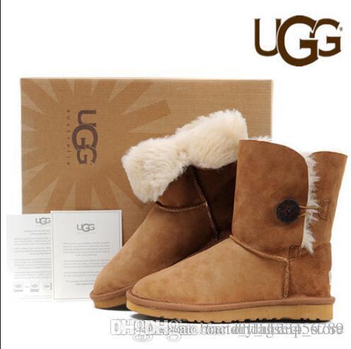 ba1e421c0d3 Belle Button Boots Women's High Snow Boots Women Men Australia Classic  Genuine Leather Designer Black Brown Snow Boots 5803