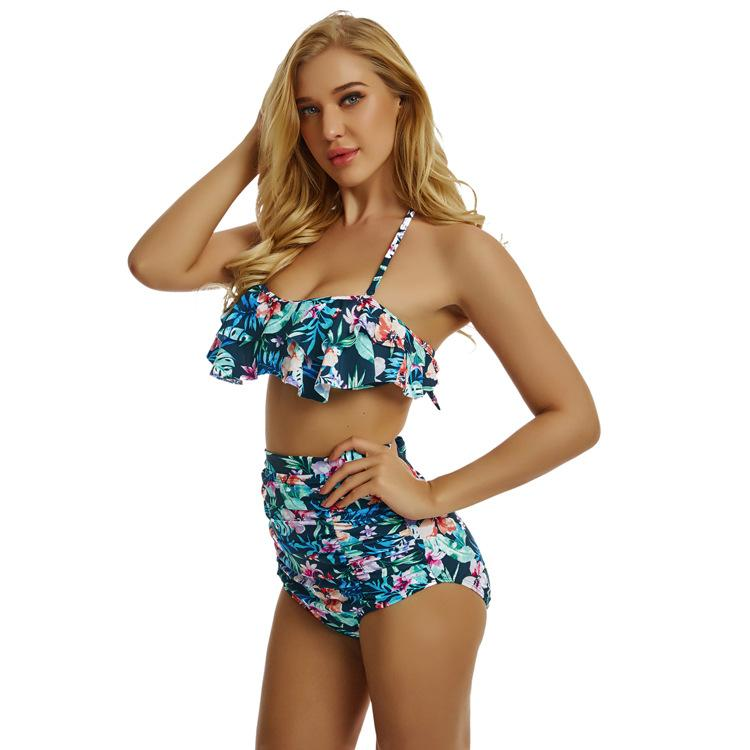 676f0a122576 Mujeres Sexy Bikini Imprimir Traje de baño de dos piezas Falbala Plegable  Push-Ups Triángulo Copa traje de baño de baño