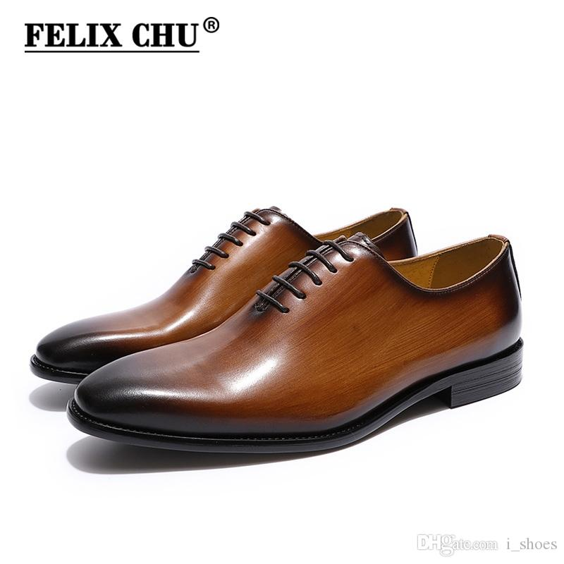 2054e4442 Compre FELIX CHU Homens Whelecut Plain Toe Oxford Sapatos De Couro Genuíno  Preto Marrom Pintados À Mão Sapatos Masculinos Sapato Formal Homem # 7807  De ...