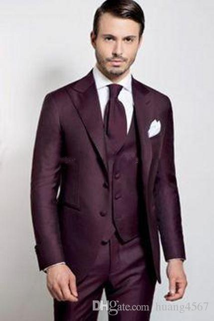 New Classic Style Two Buttons Burgundy Wedding Groom Tuxedos Peak Lapel Groomsmen Men Suits Prom Blazer (Jacket+Pants+Vest+Tie) 199
