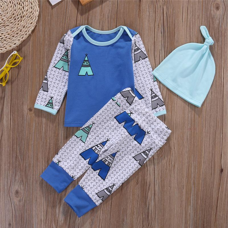 Newborn Toddler Baby Boys Girls Outfits Clothes Spring Autumn Out Wear Sets Casual Long Sleeve T-shirt Tops+ Pants+Hat Sets