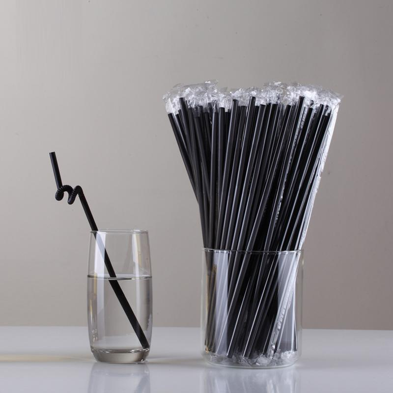 50 Pcs Multicolor Disposable Plastic Straws Individually Wrapped Black White Juice Drinking Straw Birthday Wedding Party Bar free shipping