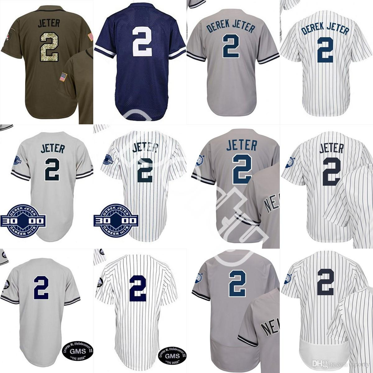 2019 Men White Grey Navy 2 Jeter Captain Jersey Retirement 3000 Hits ... 32a32b4e233