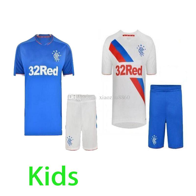 2019 Glasgow Rangers Kids Kit 2018 2019 Rangers FC Home White Soccer Jersey  18 19 Child Glasgow Rangers Away Blue Football Jerseys Shirt Youth From ... de63b4f00