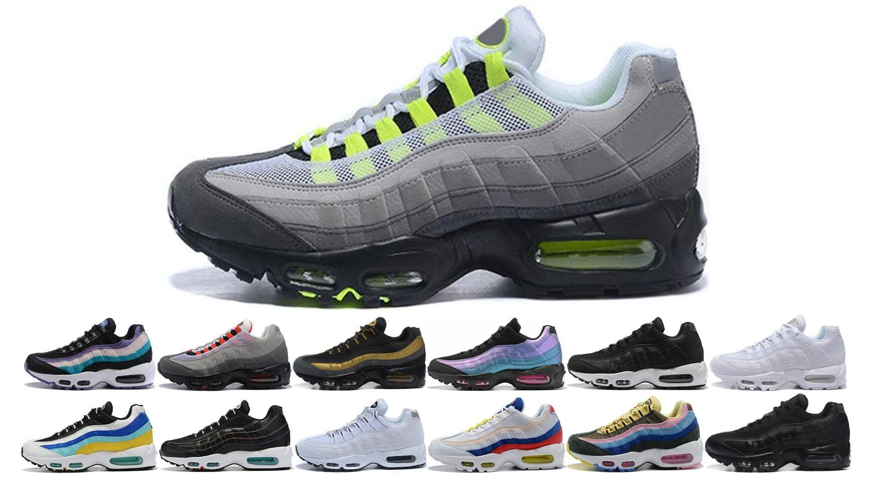 Nike Air Max vapormax 95 Designer Hommes Femmes 95 Chaussures de course SE OG Neon TT Noir Rouge Triple Blanc Aqua Ultramarine Baskets Sport