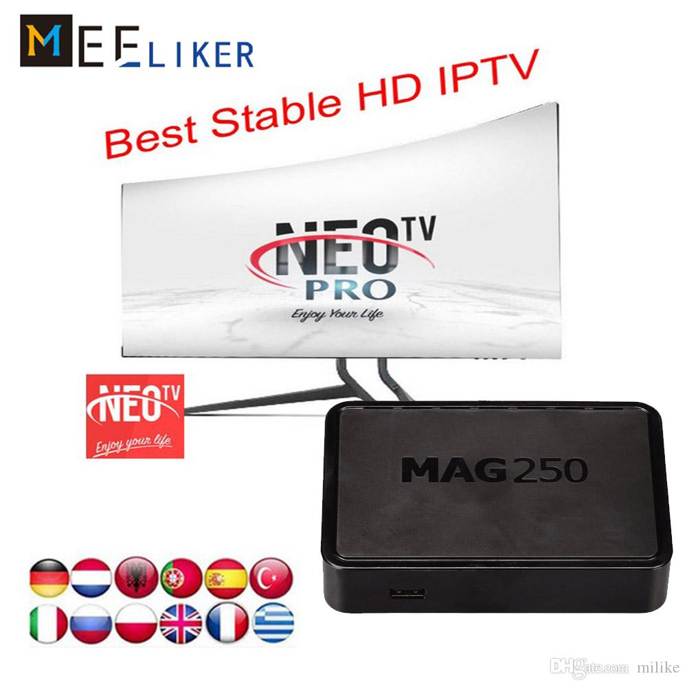 Streaming arabe Linux IPTV set top box MAG 250 for French arabic English US  Belgium Turkish Indian NEOTV QHDTV 1year free apk android M3U