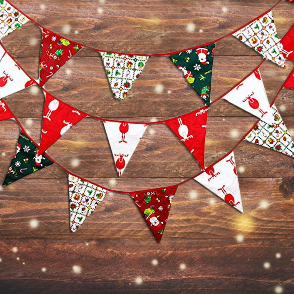 NEW 3/10M 12/36 Flags Merry Christmas Banner Fabric Banner Bunting Double-sided Retro Cloth Christmas Party Decoration Supplies