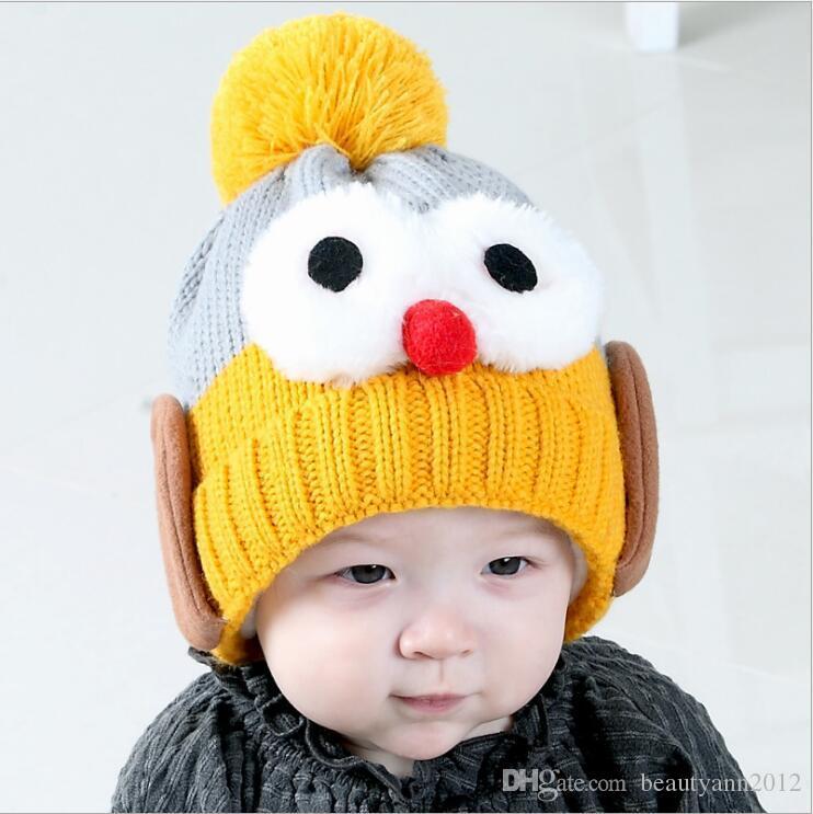 2018 Brand Beanies Hat 6 Months 4 Years Old Kids Warm Winter Cap Cartoon  Lovely Big Eyes Bonnet Hat Baby Cotton Knitted Hat Skullies Women Hats Cool  Beanies ... c08959a1c76