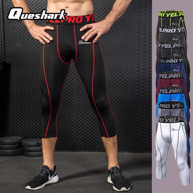 b3e5fe4a019e Acquista Queshark Professional Men Compression Sports Pantalone Con Collant  Pantaloni Quick Dry Baselayer Running Yoga Fitness Leggings Pantaloni A  $40.14 ...