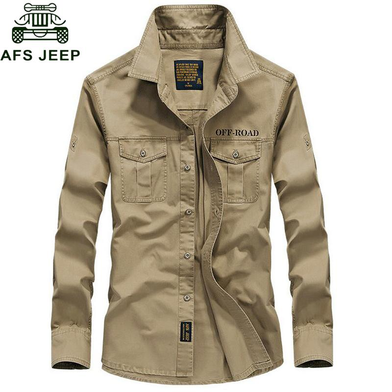 Afs Jeep Brand Spring Autum Military Shirt Men 100% Cotton Long Sleeve Army Shirts Camisetas Hombre Plus Size 4xl Chemise Homme C19041702