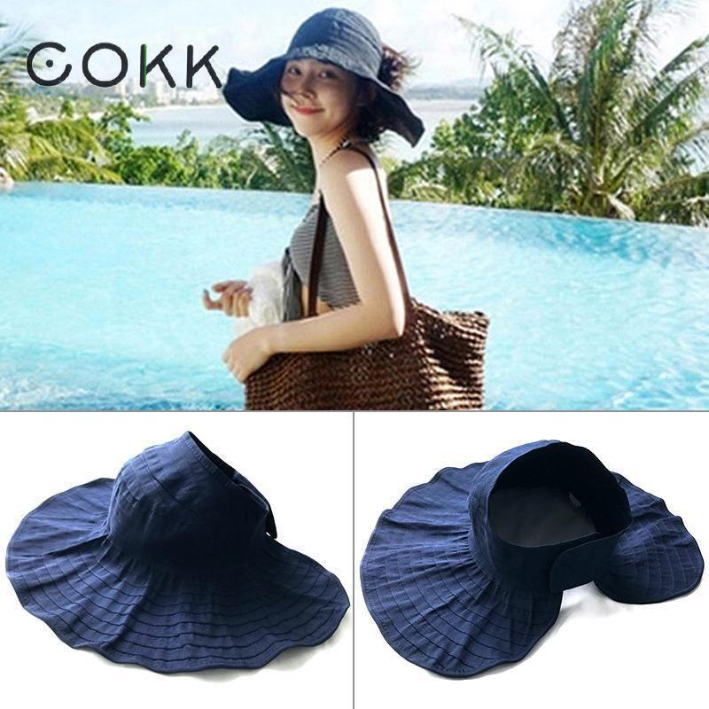 4761675f514eee COKK Summer Hats For Women Girls Foldable Beach Sun Hat Ponytail Cap Wide  Brim Portable Anti Uv Summer Outdoor Vacation Travel Summer Hats For Women  Bucket ...