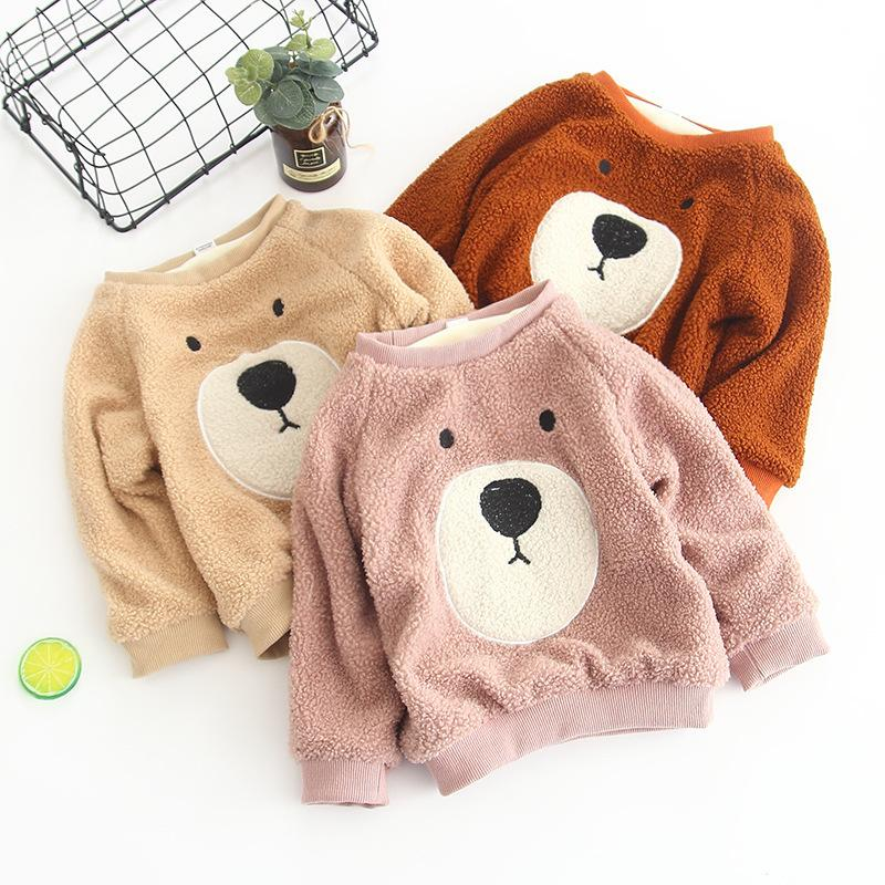 2019 New Winter Item Girl Cute Bear Warm Fleece Top Three Colors boys coat outdoor children hooded denim jacket kids leggings jackets