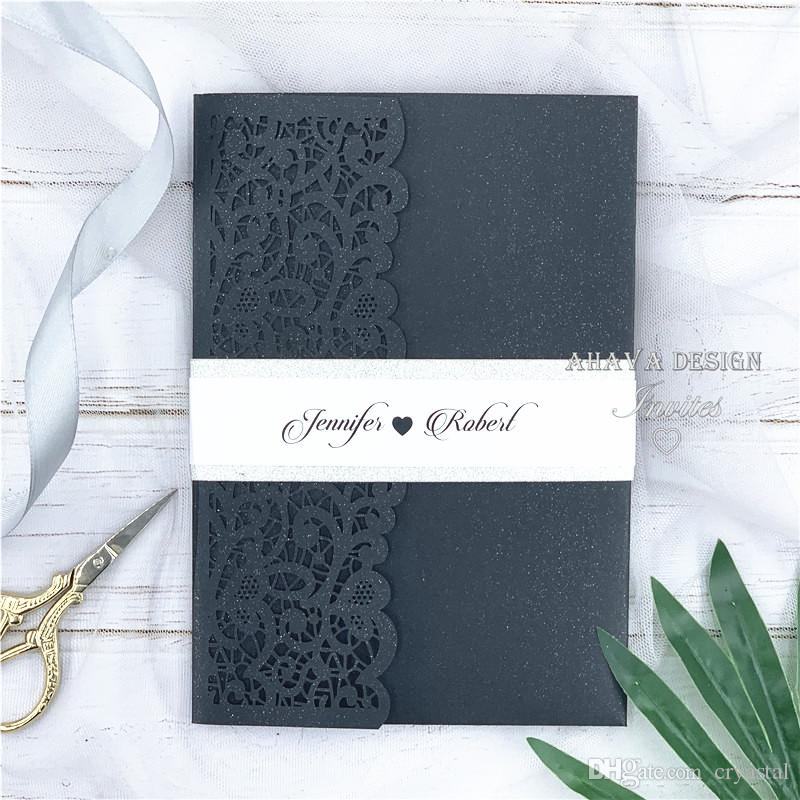 Pearl Black And Glitter Silver Pocket Wedding Invitations Die Cut Laser Cut Jackets+Belly band+RSVP card, 20+ Colors Available