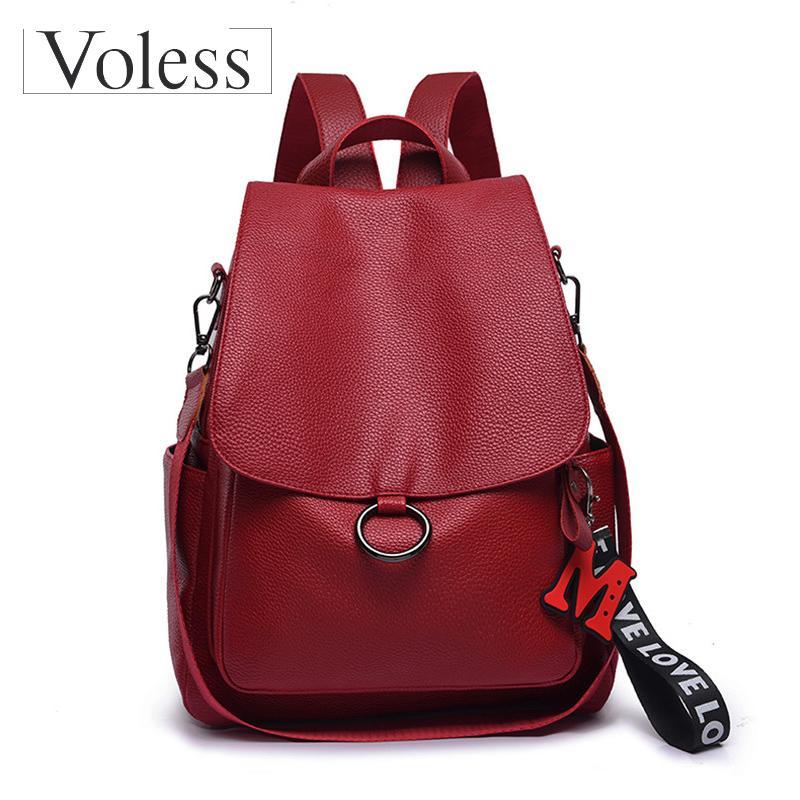 VOLESS Classic PU Leather Women Backpacks 2019 School Bags For Teenager  Girls Red Tassel Ladies Shoulder Bags Mochlia Feminina Hydration Backpack  Womens ... 49d3eb8a6dec6