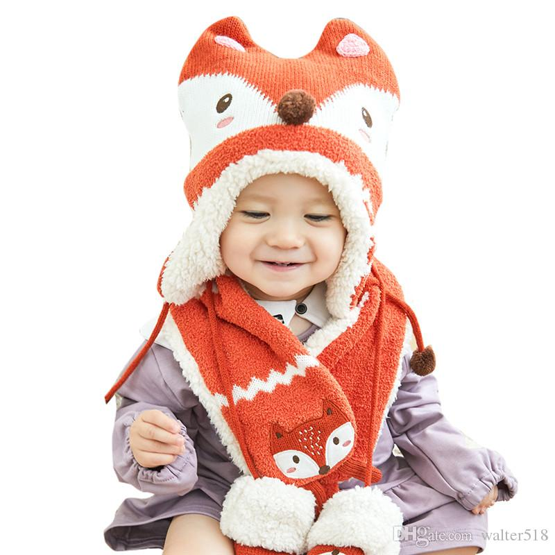 5cb590caa9b 2019 Baby Girl Boys Hat Scarf Winter Children 6month 6 Year Scarves Hats  Kids Warm Layer Caps Thick NM 010 From Walter518
