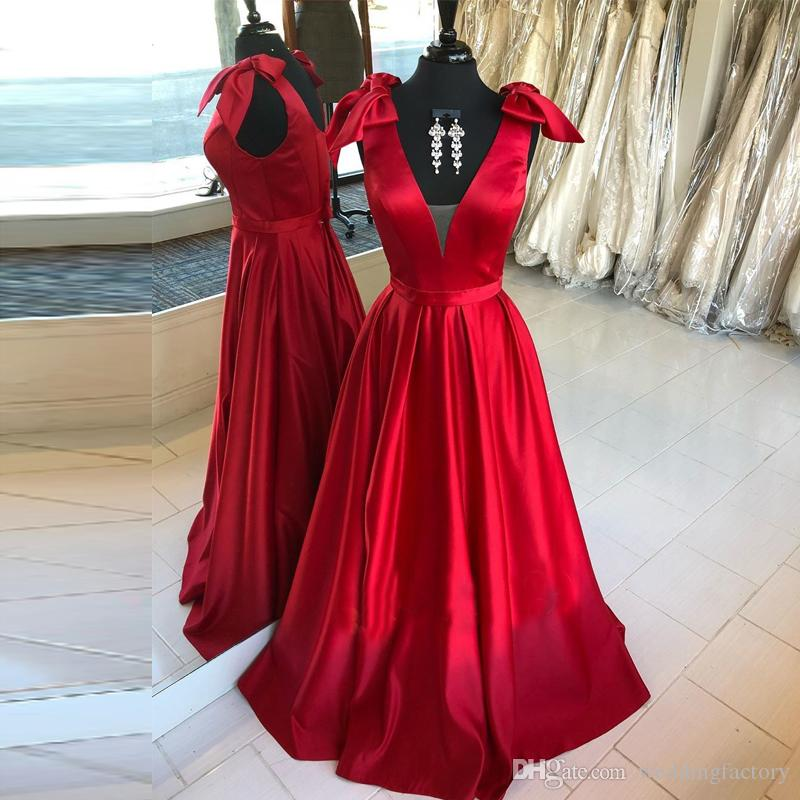 f36980db7f Simple Long Prom Dresses Deep V Neck Red Satin Formal Dress With Lovely  Bows Sleeveless Floor Length Evening Party Gowns With Sash Lace Prom Dress  Long ...