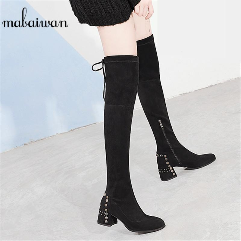 61840fd8bdb1 Mabaiwan Fashion Thick High Heels Winter Women Over The Knee Boots Black  Flock Socks Stretch Fabric Shoes Women Round Toe Pumps Low Boots Cheap Shoes  Online ...