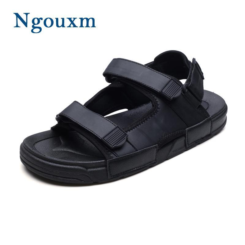 Hommes Noir 2018 Cuir Nouveauté Pu De Ngouxm Sandale Mode Coudre Homme Chaussures Crochet Et Sandales À Plage Conception Boucle Été En f76Yyvgb