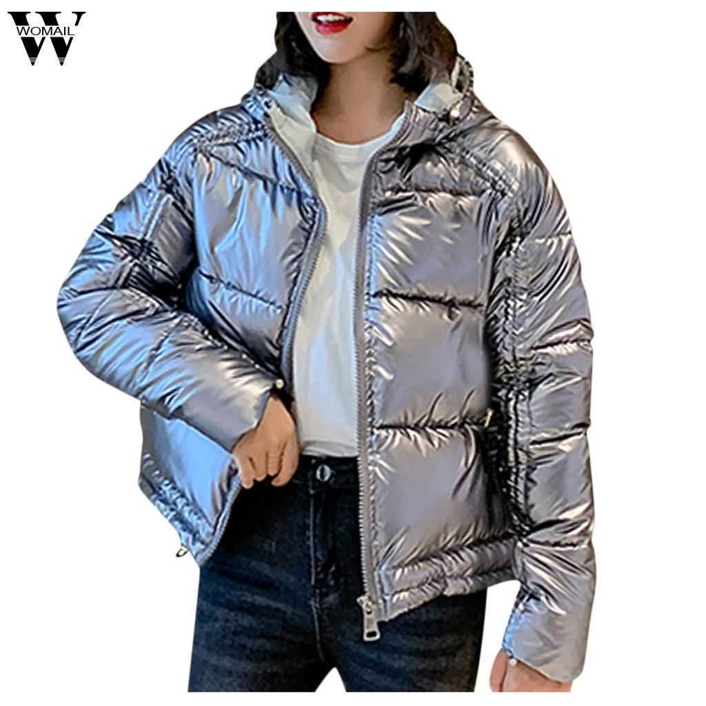 Womail Bright Women Winter Coat New Warm Hooded Cotton Jacket Solid Hooded Pockets Long-Sleeved Coat Casual ST05 abrigo de mujer