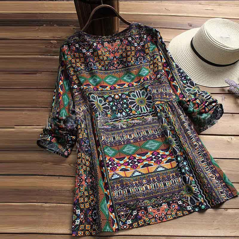 design summer women dress A new printed shirt with long sleeves and a loose size causal fashion travelling summer women dress
