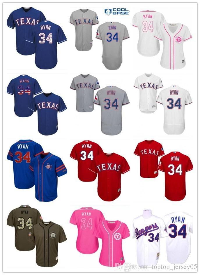 reputable site c8f8b 2ba8c 2018 top Texas Rangers Jerseys #34 Nolan Ryan Jerseys men#WOMEN#YOUTH#Men s  Baseball Jersey Majestic Stitched Professional sportswear