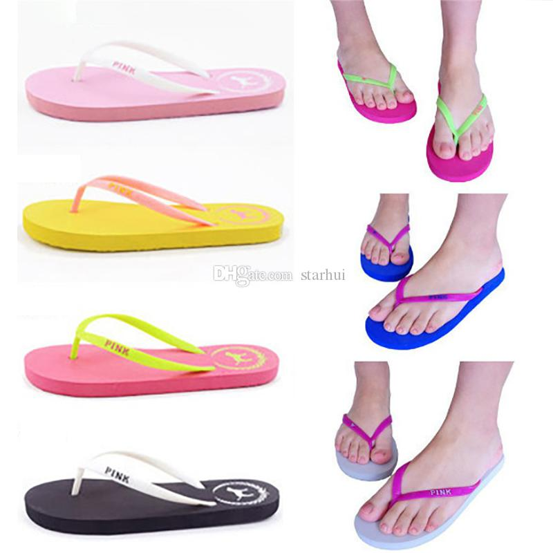 1342cf375fc Summer Love Pink Flip Flops Candy Colors Beach Pools Slippers Shoes For  Women Casual PVC Home Bathroom Sandals Pools 7 color WX9-1222