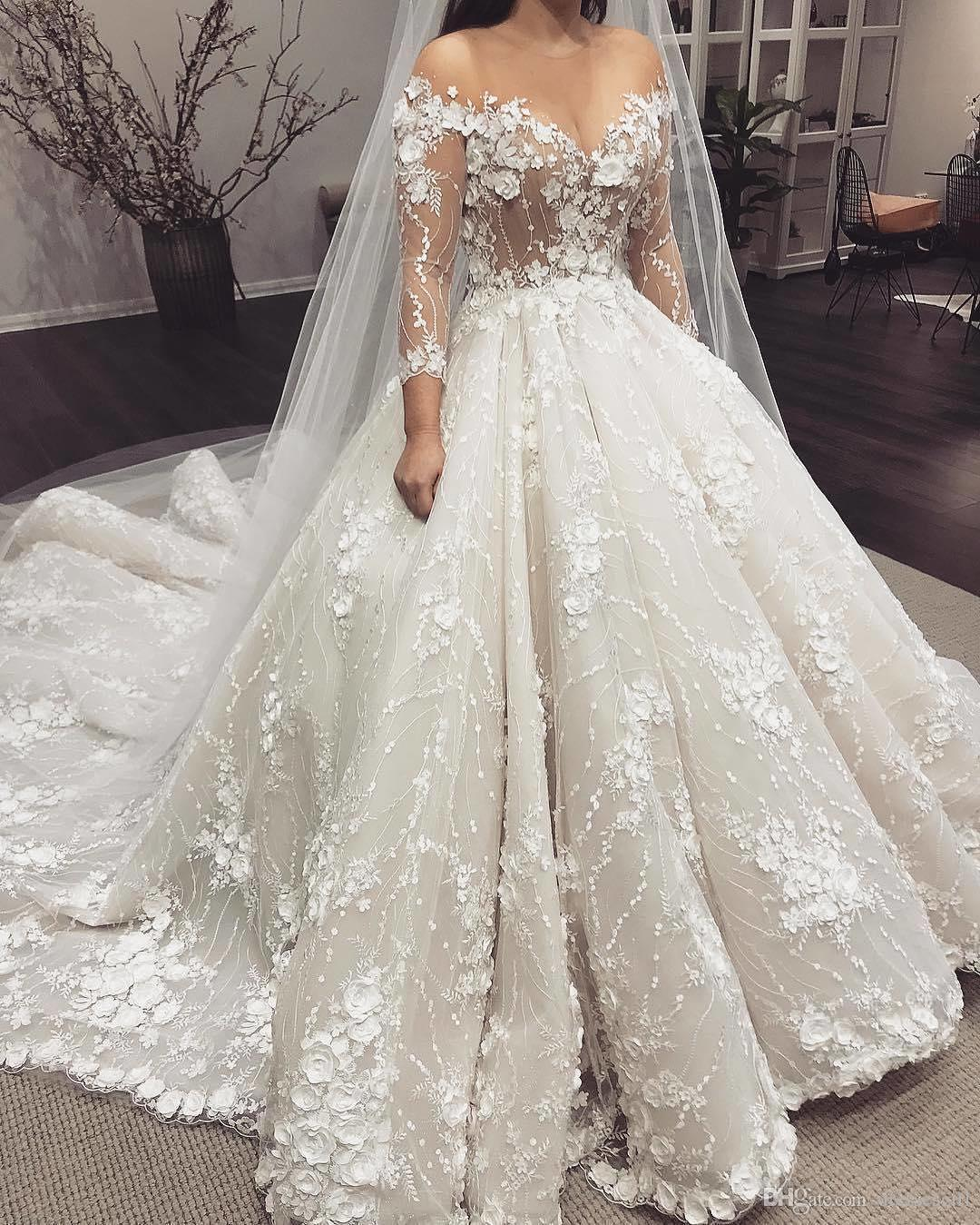 Wedding Dresses With Sweetheart Neckline And Sleeves: Discount 2019 3D Floral Appliques Wedding Dresses