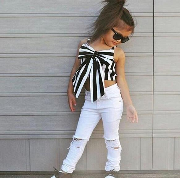 UK Stock Kids Baby Girls Tops T-shirt Hole Pants Leggings Outfit Set Clothes
