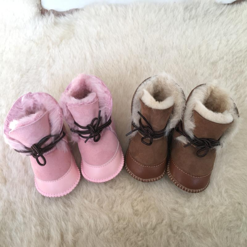 Winter New Style Baby Boots Boys Girls Sheep Skin Leahter Shoes with Sheep Fur Newborn Infant Snow Wear Warm Boots with Box