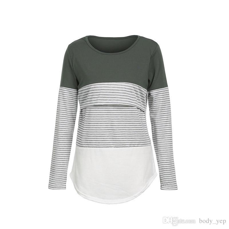 b13787192 Compre Maternidad Camiseta A Rayas De Manga Larga Camisas Tops Mujeres  Embarazadas Top Tees Prenda De Lactancia Ropa De Enfermería A  8.87 Del  Body yep ...