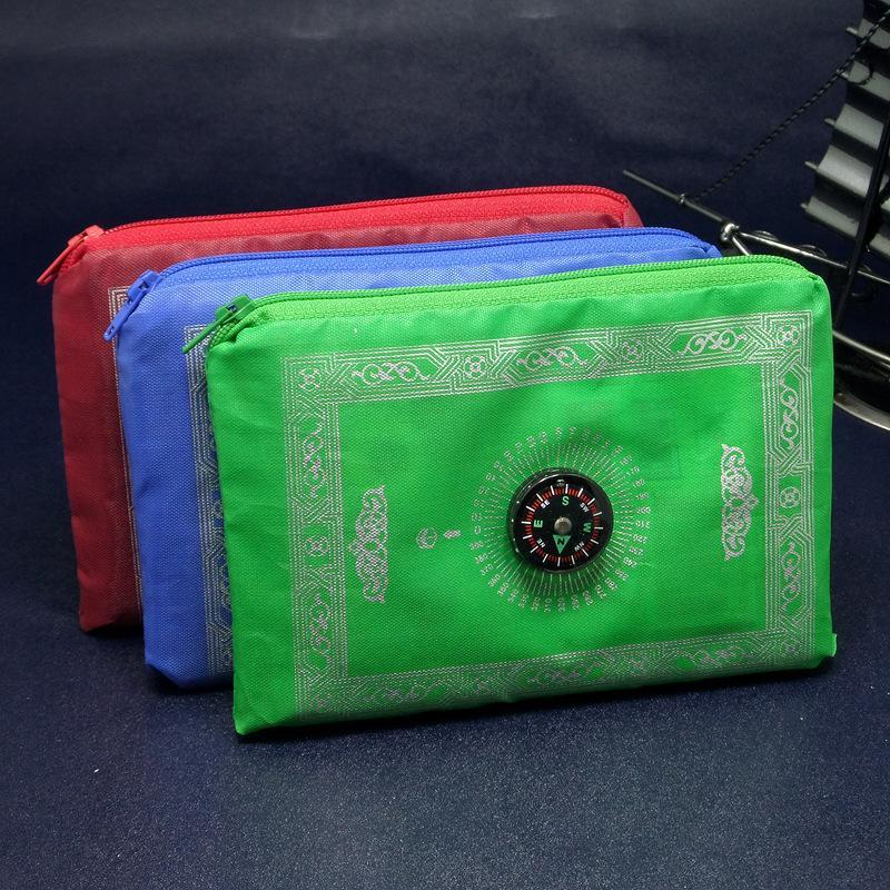 New Arrive Ethnic Style Islamic Muslim Worship Blanket Waterproof Prayer Mat Portable Zipper Bag With Compass Multi Color Rectangle VT0009
