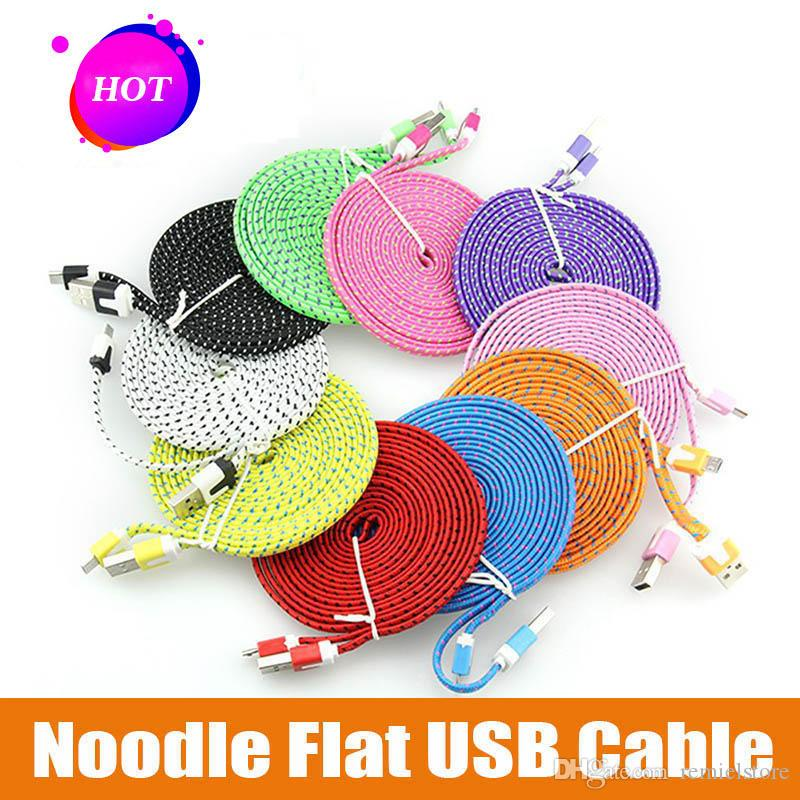 10FT 6ft 3FT Noodle Flat Braid Charging Cord 10 Color Sync Fabric Micro Wire USB Data Woven Cable Line Samsung S6 S7 EDGE S8 S9