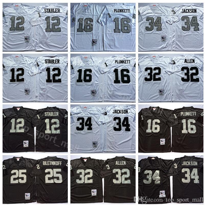 Football Oakland 12 Ken Stabler Jersey Raiders Mens Vintage 16 Jim Plunkett  32 Marcus Allen 34 Bo Jackson 25 Fred Biletnikoff UK 2019 From Vip sport 84d5a7b5a