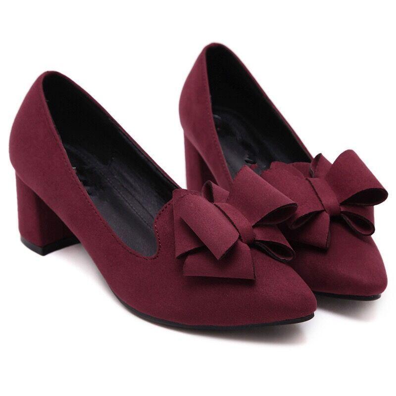 1baf8905b52 Designer Dress Shoes New Women Pumps Bow High Heels Block Heels Dress Pump  Fashion Pointed Toe Pumps Delicate Sweet Bowknot High Heel Slip On Shoes  Mens ...
