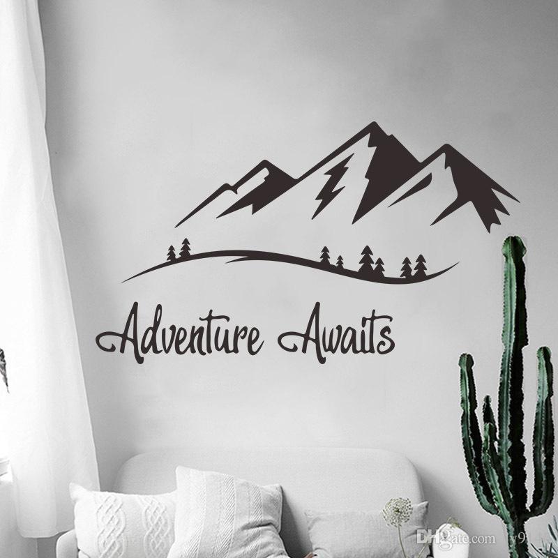 adventures awaits wall decals vinyl mountain wall art sticker for