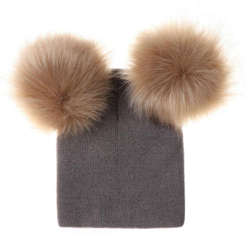 Kids Pompom Caps Beanies Cute Baby Kids Winter Warm Double Fur Pompom Caps  Beanies Pom Pom Hats KKA6375 Knit Hats Cheap Hats From Shuaijinjin china f07b997bb82
