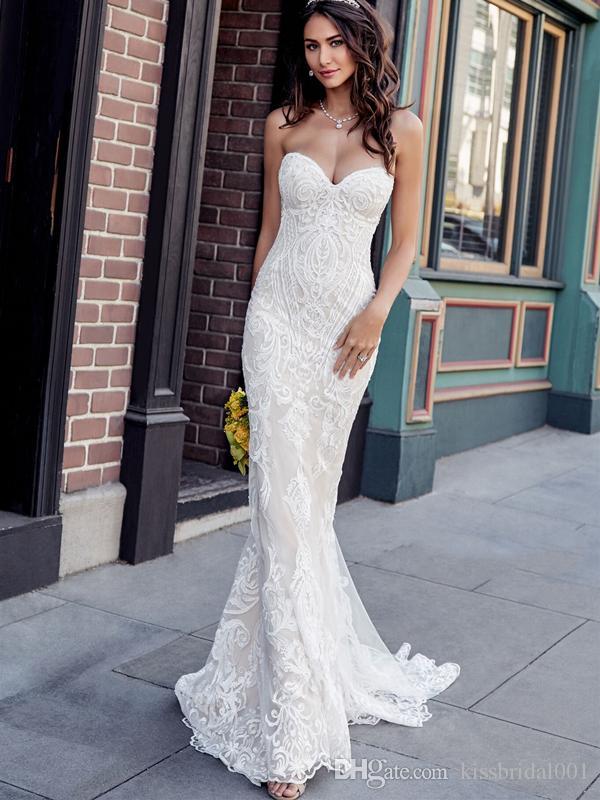 compre vestidos de novia de encaje vintage 2019 sirena sin tirantes