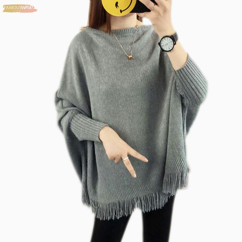 New Spring Gray Pullovers And Pullover Loose Tassel Soft Shawl Poncho Women Slash Neck Bat Long Sleeve Sweaters Sweater Shawl