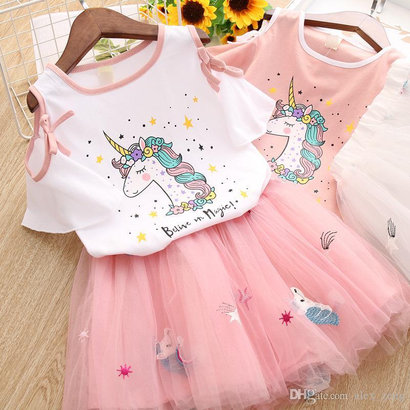 303afc1556 Girl Clothes Unicorn Print Set 2019 New Summer Children Clothing Sets  Unicorn Short Sleeve T-shirt +Embroidery Rainbow Tutu Skirt 2pcs Sets