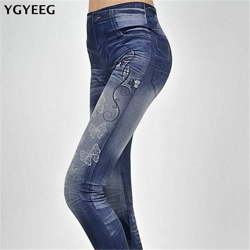 b0e57f38a5554 2019 Fashion Women Leggings Faux Denim Jeans Leggings Sexy Butterfly  Printing Casual Women Clothing Fitness Pencil Pants From Mart01, $4.74    DHgate.Com
