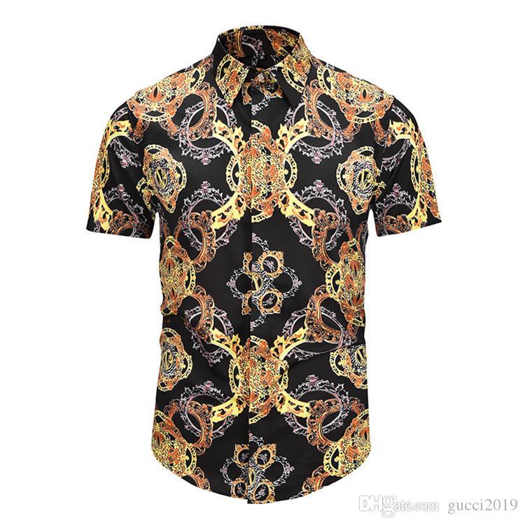 76627f29aa87 2019 Hot Sale Famous Brand Design Clothes Men Streaks Golden Dragon Flower  Print Long Sleeve 3d Shirt Baroque Printing Medusa Men Shirt Make Tee  Shirts T ...
