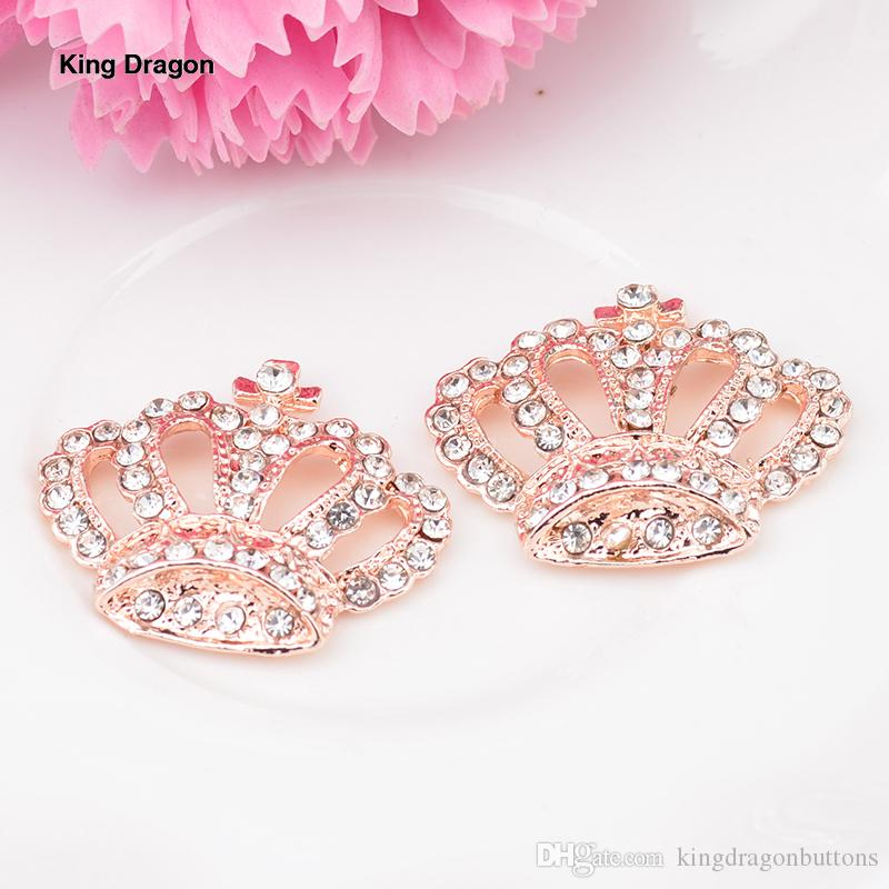2019 New Arrival Rhinestone Crown Buttons Used On Craft 24MM*28MM 20PCS/Lot Shank Back 4 Colors KD540