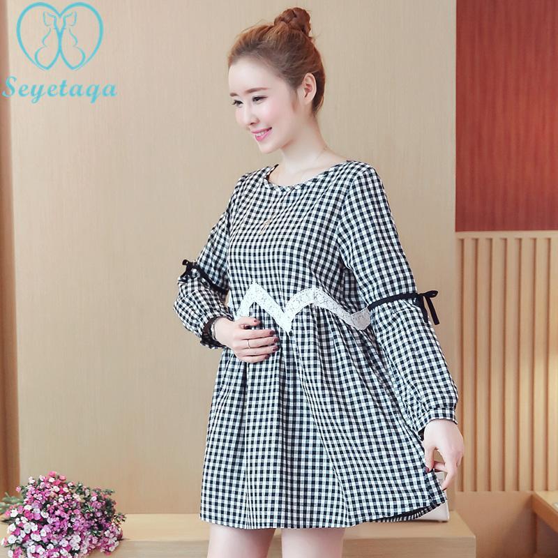 539760e24 Compre 1575   Una Línea Estilo Suelto Blusas De Maternidad Moda Coreana A  Cuadros De Ropa De Algodón Para Mujeres Embarazadas Primavera Embarazo  Camisas ...