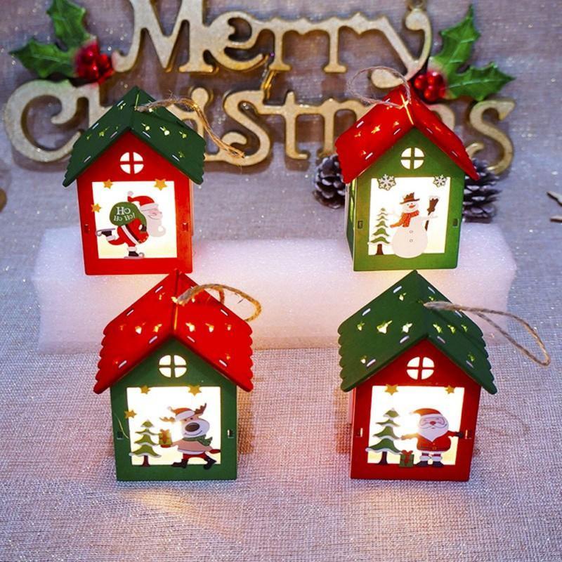4pc Lot Christmas Led Light Christmas Ornaments Chalet Hotel Tree Pendant Wood House Tree