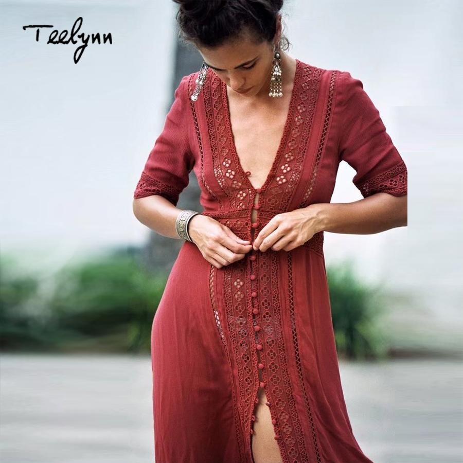 3e2968d59ee84 Teelynn Boho Long Dress 2018 New Vintage Floral Lace Stitching Sexy V-neck  Summer Dresses Beach Wear Hippie Women Dress Vestidos Y19053001