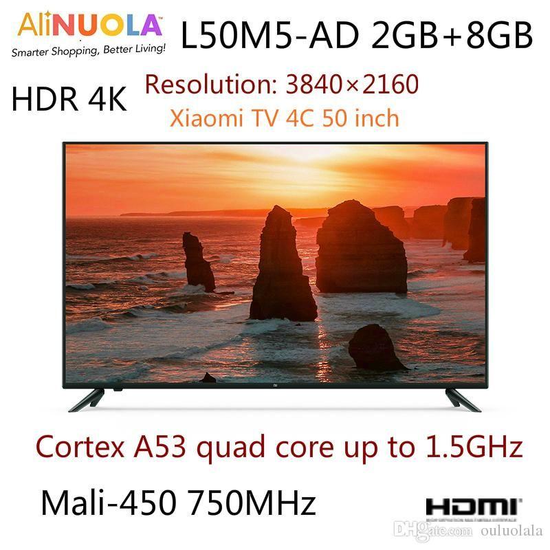 Xiaomi Smart TV 4C 50 inch L50M5-AD HDR 4K Ultra HD Piano paint Ultra  narrow side 2GB 8GB large storage Flat LCD TV (black) Spot!