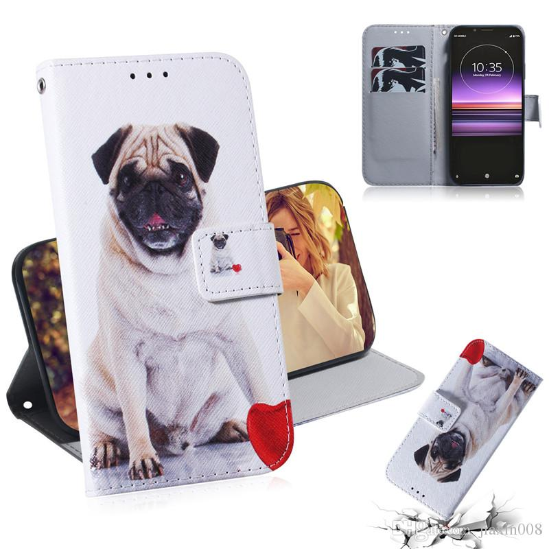 Wallet Case For Sony Xperia 1 Filp Cover Hot selling Coloured pattern Wolf tiger lion Owl Dog With Card Slot Design