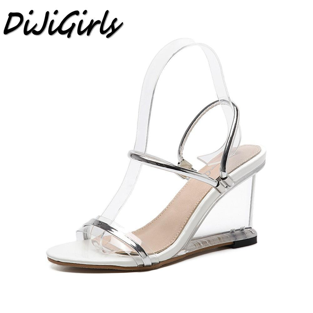 eb2cdab7e12b DiJiGirls New Summer Women Gladiator Sandals Ladies Pumps Wedges Shoes Woman  Crystal Clear Transparent Casual High Heels Shoes Salt Water Sandals  Bridesmaid ...