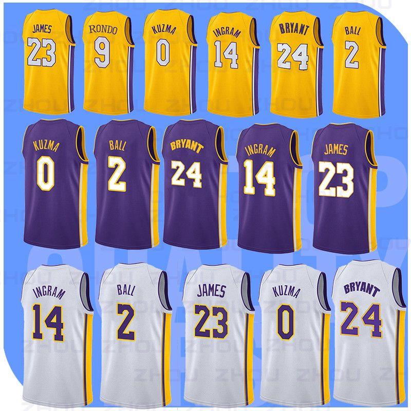 28082f2f6 Men Lakers 23 James 14 Ingram 24 Kobe 0 Kuzma Basketball Jerseys Top ...