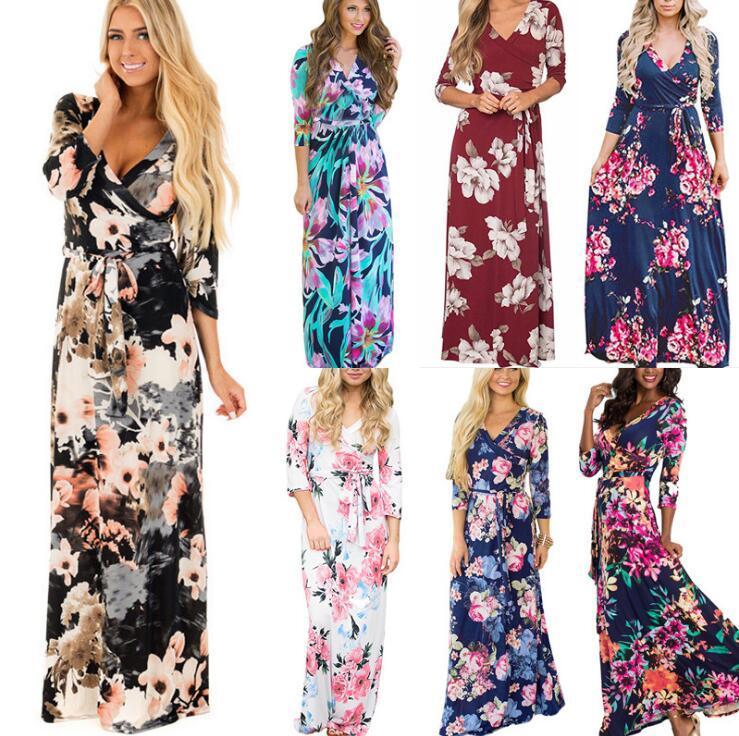 fe593d309 Manga larga vestido floral 16 estilos mujeres del verano Boho Maxi vestidos  con cuello en v flor impreso Bohemia Party Beach vestidos OOA6527